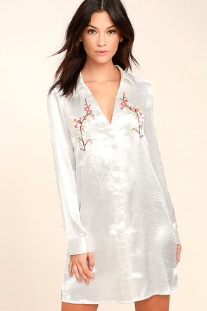 Boudoir Beauty White Satin Embroidered Shirt Dress 1