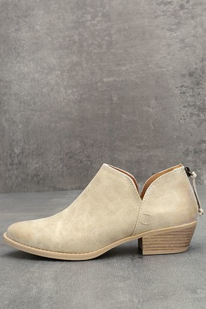 Stands Apart Stone Grey Nubuck Ankle Booties 1