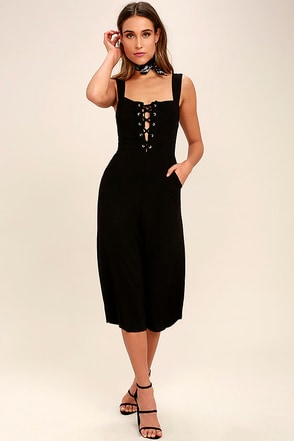 While Away Black Lace-Up Midi Jumpsuit 1