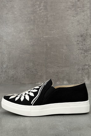 Seychelles Sunshine Black Canvas Embroidered Slip-On Sneakers 1