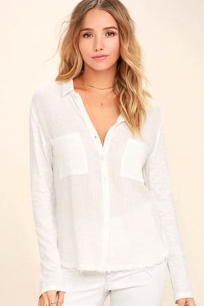Take the Long Way Home White Button-Up Top 1