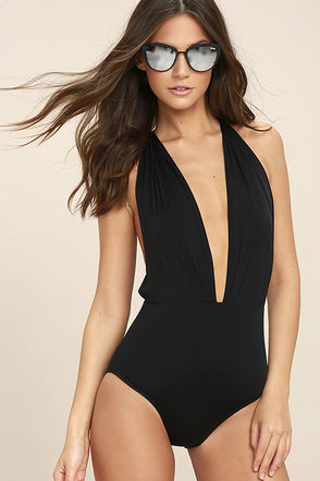 Get it Right Black Halter One Piece Swimsuit 1