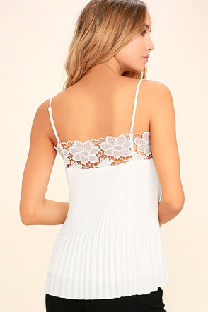 None Other White Lace Sleeveless Top 1