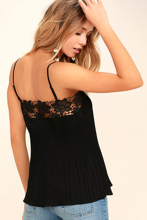 None Other Black Lace Sleeveless Top 1