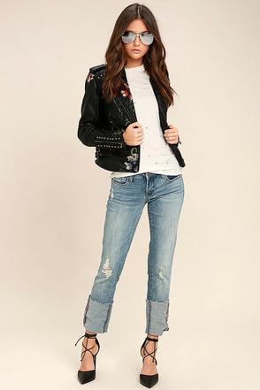 Blank NYC Deep Cuff Straight Medium Wash Distressed Jeans 1