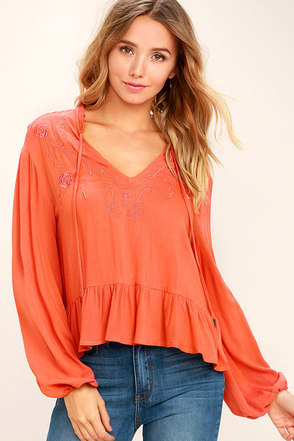 Island in the Sun Coral Orange Long Sleeve Embroidered Top 1