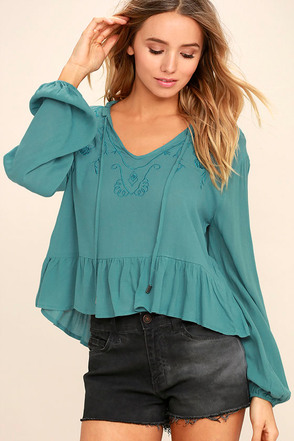 Island in the Sun Turquoise Blue Long Sleeve Embroidered Top 1