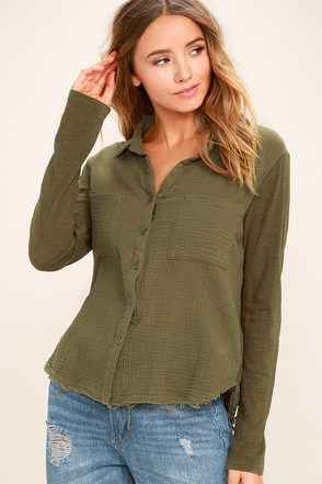 Take the Long Way Home Olive Green Button-Up Top 1