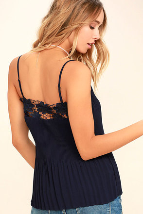 None Other Navy Blue Lace Sleeveless Top 1