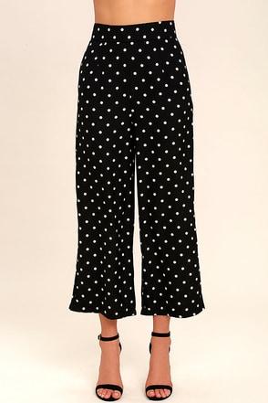 Hollaback Black and White Polka Dot Culottes 1