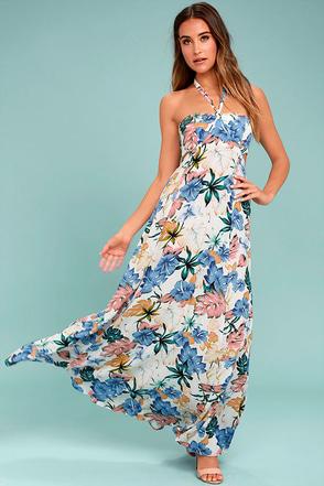 My Island Ivory Floral Print Halter Maxi Dress 1