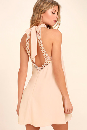 Any Sway, Shape, Or Form Blush Pink Lace Halter Dress 1