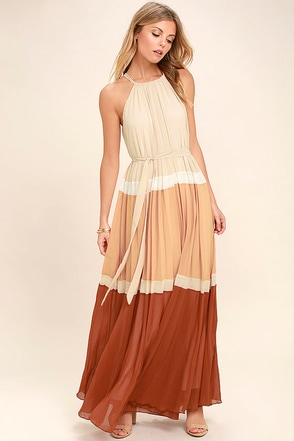 Totally Tranquil Beige Color Block Maxi Dress 1