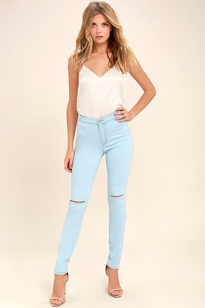 Practice Makes Perfect Light Wash High-Waisted Skinny Jeans 1