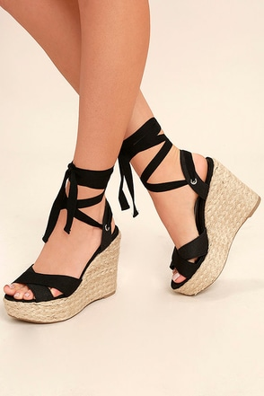 Esme Black Lace-Up Espadrille Wedges 1