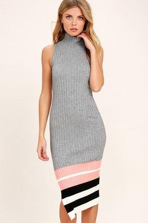 Obey Marina Grey Striped Midi Sweater Dress 1