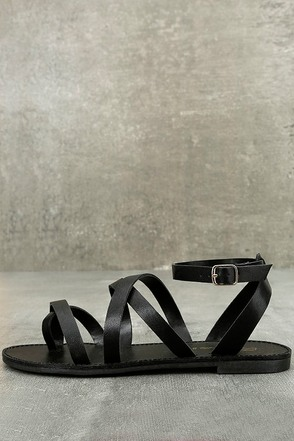 Sonata Black Ankle Strap Flat Sandals 1