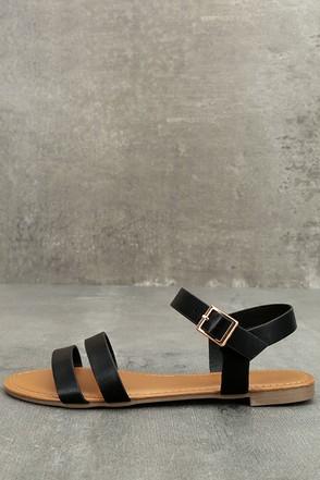 Euphrates Black Flat Sandals 1