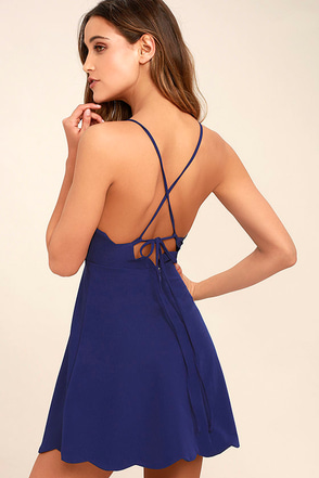 Play On Curves Royal Blue Backless Dress 1
