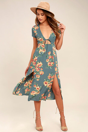 Best Day of My Life Dusty Sage Floral Print Midi Dress 1