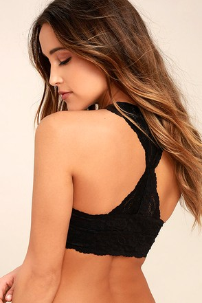 Free People Galloon Racerback Black Lace Bralette 1