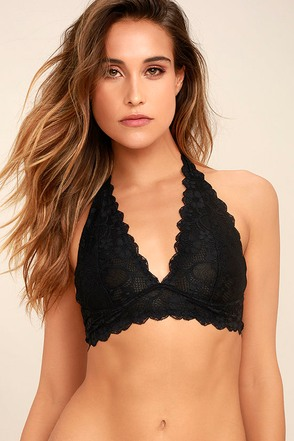 Free People Galloon Halter Black Lace Bralette 1