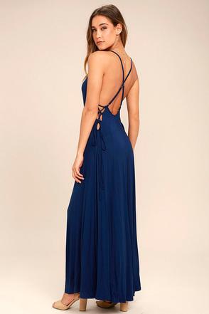 Ever Amazed Navy Blue Lace-Up Maxi Dress 1