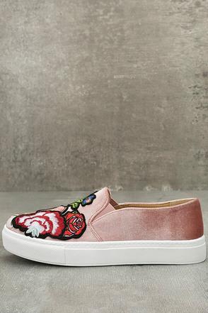 Dirty Laundry Jiana Rose Velvet Embroidered Slip-On Sneakers 1