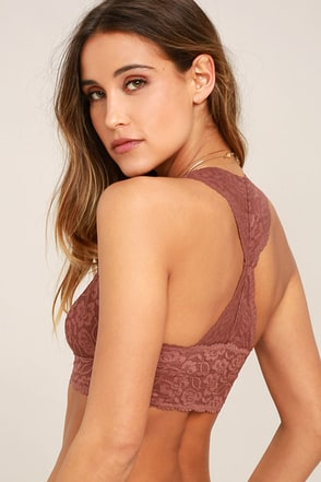 Free People Galloon Racerback Light Brown Lace Bralette 1