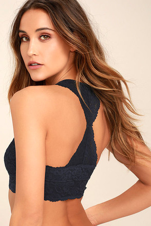 Free People Galloon Racerback Navy Blue Lace Bralette 1
