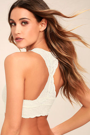 Free People Galloon Racerback Cream Lace Bralette 1
