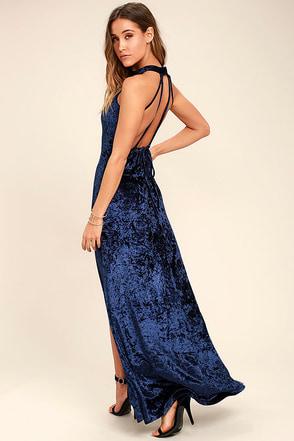 Sway My Options Navy Blue Velvet Maxi Dress 1