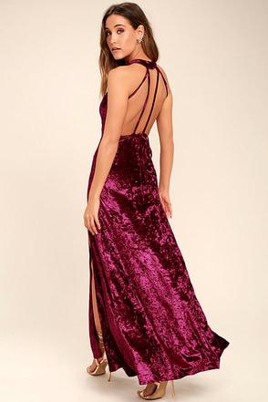 Sway My Options Magenta Velvet Maxi Dress 1