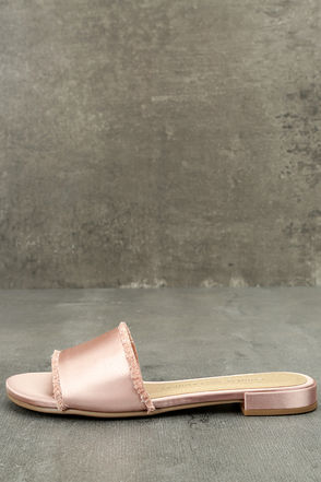 Chinese Laundry Pattie Summer Nude Satin Slide Sandals 1