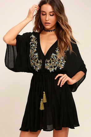 Belize in Magic Black Embroidered Dress 1