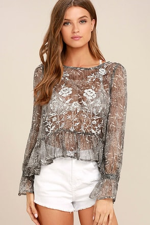 Whispering Winds Grey Floral Print Embroidered Top 1