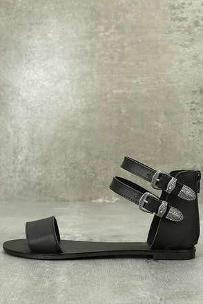 Dorinda Black Ankle Strap Flat Sandals 1