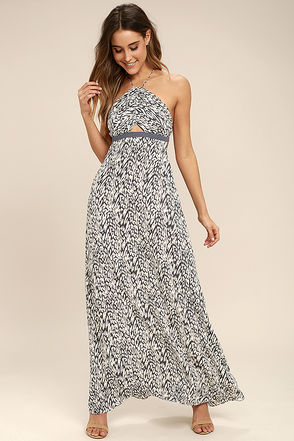 Tavik Kenninton Grey Print Halter Maxi Dress 1