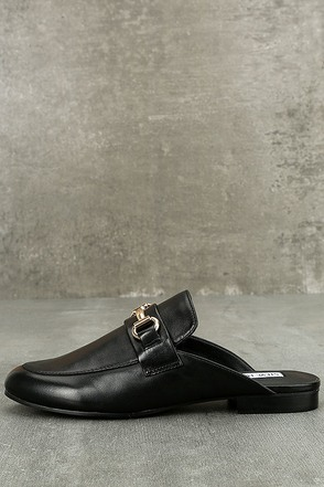 Steve Madden Kandi Black Leather Loafer Slides 1
