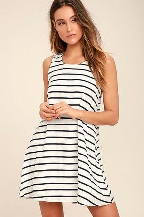 BB Dakota Shaye Navy Blue Striped Swing Dress 1