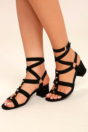 Galina Black Suede Studded Leg Wrap Heels 1