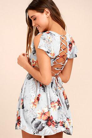 La Brea Grey Floral Print Backless Lace-Up Dress 1