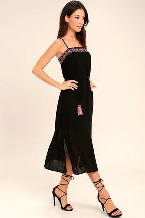 Everyday Escape Black Embroidered Midi Dress 1