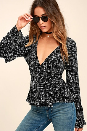 Love is Enough Black Polka Dot Wrap Top 1