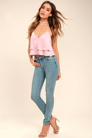 Cheap Monday Second Skin Light Blue High-Waisted Skinny Jeans 1