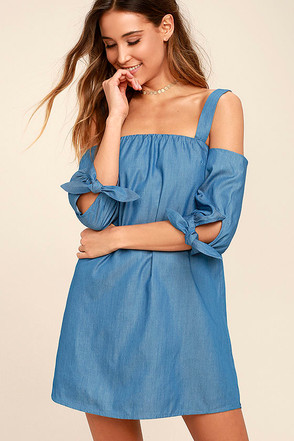 Be Home Soon Blue Chambray Off-the-Shoulder Dress 1