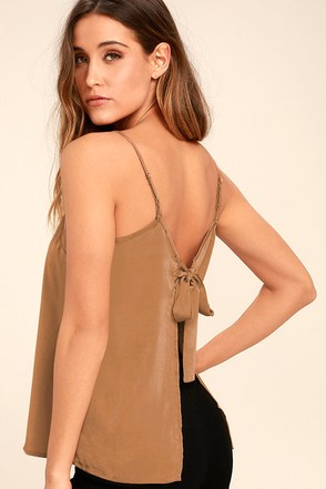 Bow Me Away Light Brown Backless Satin Top 1