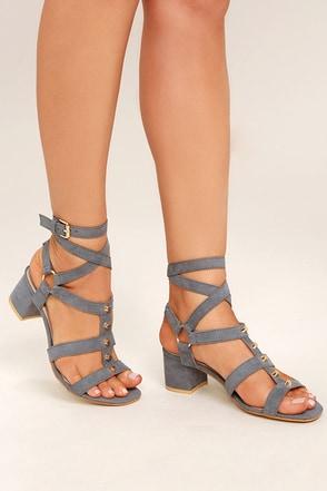 Galina Grey Suede Studded Leg Wrap Heels 1