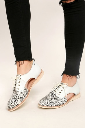 Rollie Sidecut White Snow Leopard Leather and Pony Fur Oxfords 1