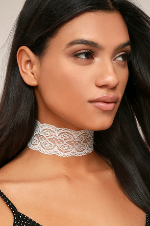 Lace Goals White Lace Choker Necklace 1